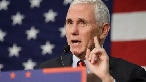 "FILE -In this Sept. 30, 2016 file photo, Republican vice presidential candidate, Indiana Gov. Mike Pence speaks in Fort Wayne, Ind. Pence musters all of his Midwestern earnestness as he describes Donald Trump as ""a man of faith."" He says the Republican nominee is ""a man I've prayed with and gotten to know on a personal level."" The description, in an interview with The Associated Press, stands in sharp relief to Trump's public profile over much of his career: a twice-divorced former playboy who has boasted of his sexual exploits, flaunted his wealth, used crass insults and made sweeping generalizations about whole races.  (AP Photo/Darron Cummings, File)"