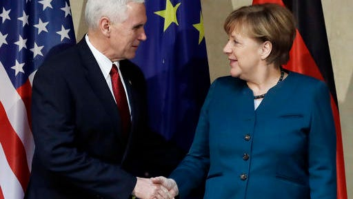 United States Vice President Mike Pence, left, and German Chancellor Angela Merkel meet for bilateral talks during the Munich Security Conference in Munich, Germany, Saturday, Feb. 18, 2017. The annual weekend gathering is known for providing an open and informal platform to meet in close quarters.
