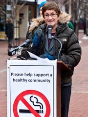 Tracy Dolan, Vermont's interim health commissioner, speaks during a news conference in Burlington on Monday, Dec. 15, 2014, to draw attention to the smoking ban on Church Street, which went effect on Dec. 17.