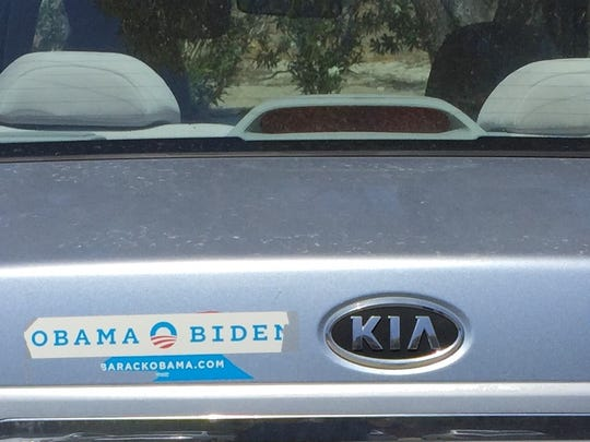 A KIA is sporting Obama-Biden and Hillary 2016 bumper stickers. Seen in Palm Springs on April 27, 2016.