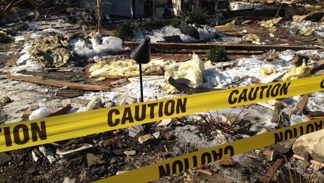 Stafford explosion scene Wednesday morning.