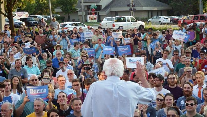Bernie Sanders speaks to young voters in Iowa City last August.