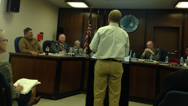 Marine biologist Richard Snyder, director of the Virginia Institute of Marine Sciences Eastern Shore Laboratory, addressed the Accomack County Board of Supervisors about a proposed nutrient study related to the poultry industry on Wednesday, Feb. 17, 2016.