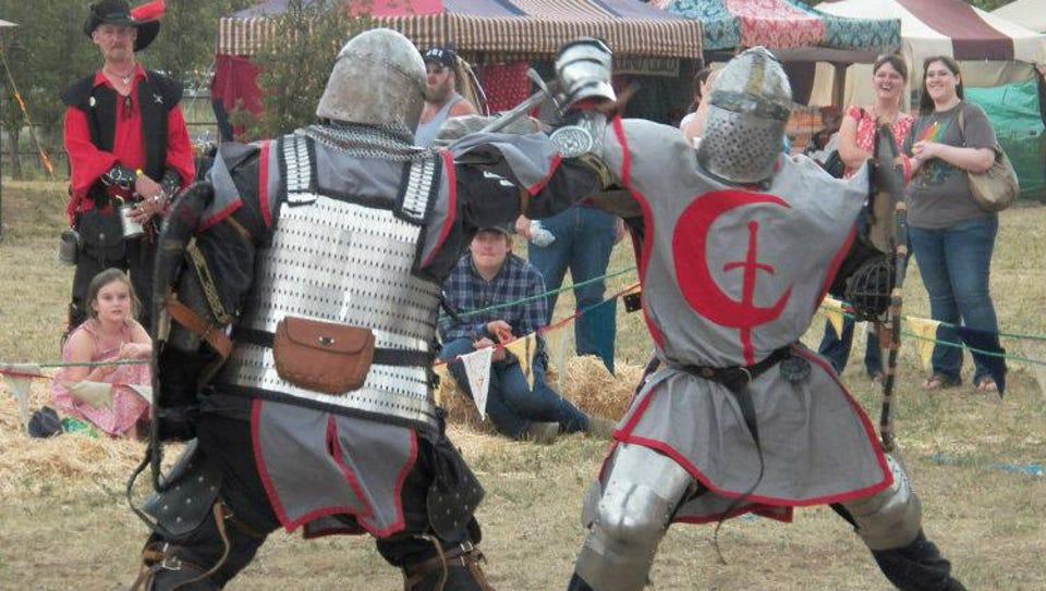Fighting knights at the annual Medieval Mayhem Renaissance