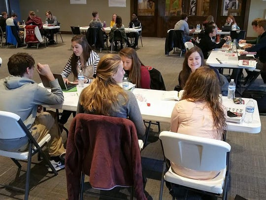 Students discuss leadership during a training at Hord Family Farms as part of the Crawford County Youth Leadership Council.