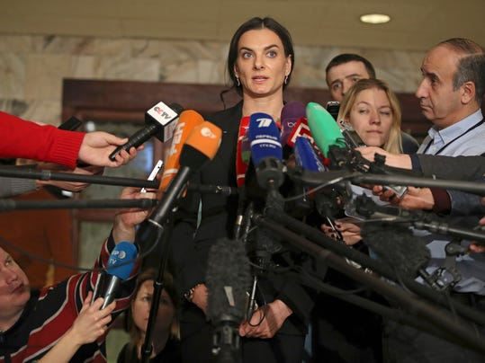 FILE - In this Dec. 9, 2016, file photo, former Russian pole vaulter Yelena Isinbayeva speaks to the media in Moscow, Russia. On Thursday, May 18, 2017, a bit over a year after The New York Times revealed the sordid specifics of a doping scandal that pervaded Russia's Olympic team, the World Anti-Doping Agency's governing board meets. (AP Photo/Pavel Golovkin)