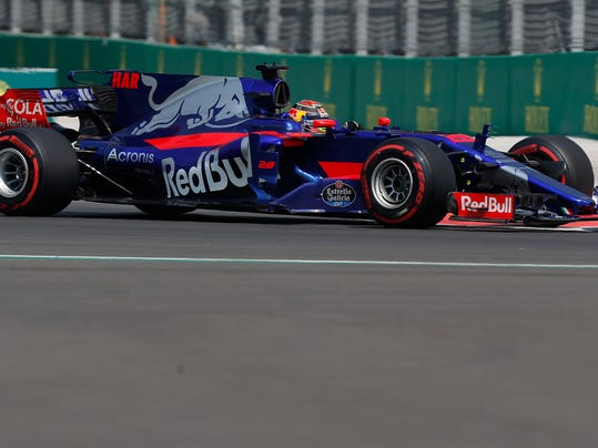 Toro Rosso driver Brendon Hartley, of New Zealand, steers his car during the second practice session for the Formula One Mexico Grand Prix auto race at the Hermanos Rodriguez racetrack, in Mexico City, Friday, Oct. 27, 2017. (AP Photo/Moises Castillo)