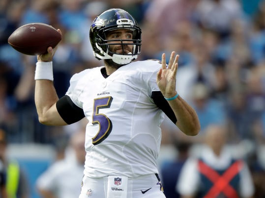 Baltimore Ravens quarterback Joe Flacco passes against the Tennessee Titans in the first half of an NFL football game Sunday, Nov. 5, 2017, in Nashville, Tenn. (AP Photo/Wade Payne)