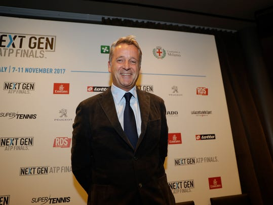 "ATP President Chris Kermode smiles during a press conference to present the ATP Next Gen Finals tennis tournament, in Milan, Italy, Monday, Nov. 6, 2017. Organizers apologized Monday for a ceremony involving female models provocatively revealing the letters ""A'' or ""B'' to determine the draw for the ATP's Next Gen Finals tennis tournament. The ceremony on Sunday was supposed to highlight Milan's status in the fashion industry. (AP Photo/Luca Bruno)"