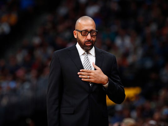 FILE - In this Nov. 24, 2017, file photo, Memphis Grizzlies head coach David Fizdale in the second half of an NBA basketball game in Denver. The Grizzlies have fired Fizdale, with the team at 7-12 and a day after he benched center Marc Gasol for the fourth quarter of an eighth straight loss. General manager Chris Wallace announced the move Monday, Nov. 27, 2017. (AP Photo/David Zalubowski, File)
