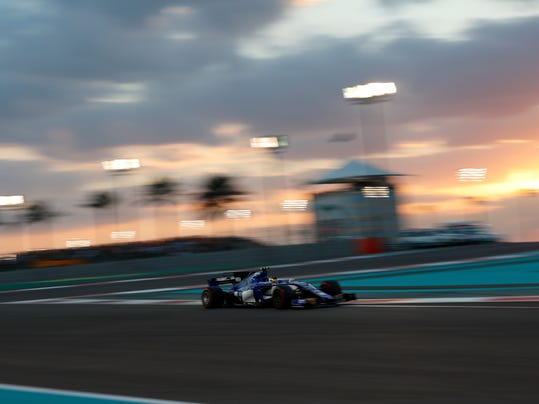 Sauber driver Pascal Wehrlein of Germany steers his car during the Emirates Formula One Grand Prix at the Yas Marina racetrack in Abu Dhabi, United Arab Emirates, Sunday, Nov. 26, 2017. (AP Photo/Hassan Ammar)