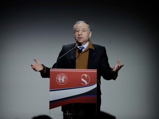 FIA President Jean Todd delivers his speech during the official presentation of the Alfa Romeo Sauber F1 Team car in Arese, Italy, Saturday, Dec. 2, 2017. The Alfa Romeo Sauber F1 Team will compete in the 2018 Formula 1 World Championship. (AP Photo/Luca Bruno)