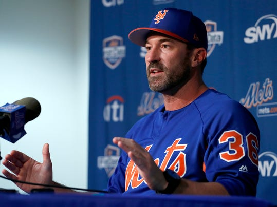 New York Mets manager Mickey Callaway speaks during a news conference ahead of the official start of spring training baseball practice Tuesday, Feb. 13, 2018, in Port St. Lucie, Fla. (AP Photo/Jeff Roberson)