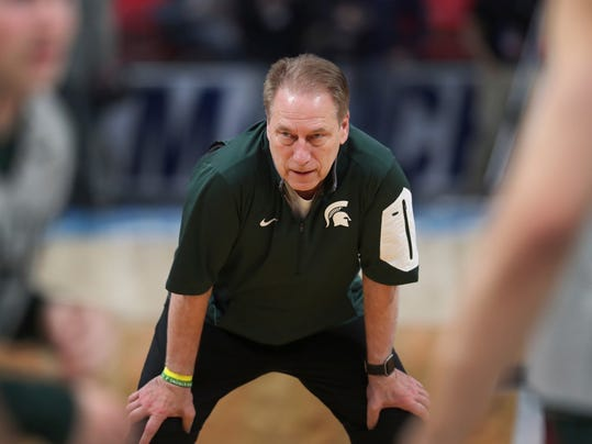 Michigan State head coach Tom Izzo watches a practice for an NCAA men's college basketball tournament first-round game, Thursday, March 15, 2018, in Detroit. Michigan State plays Bucknell in the first round on Friday. (AP Photo/Carlos Osorio)