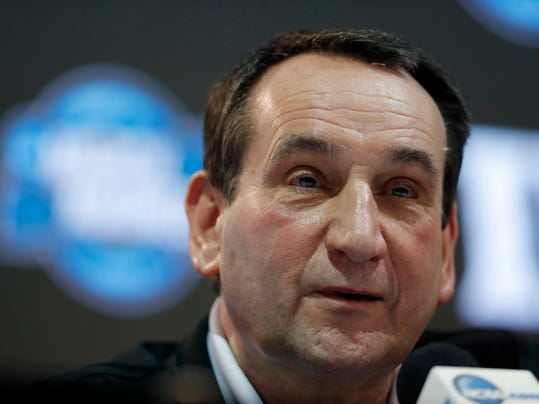 Duke head coach Mike Krzyzewski speaks during a news conference at the NCAA men's college basketball tournament, Saturday, March 24, 2018, in Omaha, Neb. Duke faces Kansas in a regional final on Sunday. (AP Photo/Charlie Neibergall)