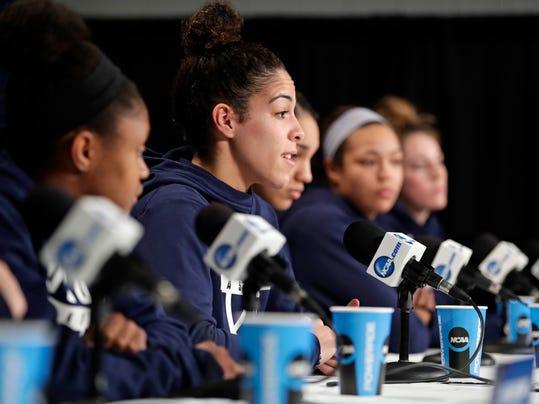 Connecticut's Kia Nurse speaks during a women's NCAA college basketball tournament press conference Sunday, March 25, 2018, in Albany, N.Y. Connecticut will play against South Carolina in a regional final game on Monday. (AP Photo/Frank Franklin II)