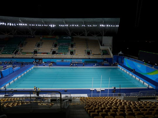 the pool in the lenk aquatic center where the 2016 summer olympics synchronized swimming competition is - Olympic Swimming Pool 2016