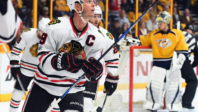 The Blackhawks scored the game-winning goal with 1:05 left against the Predators on Saturday.