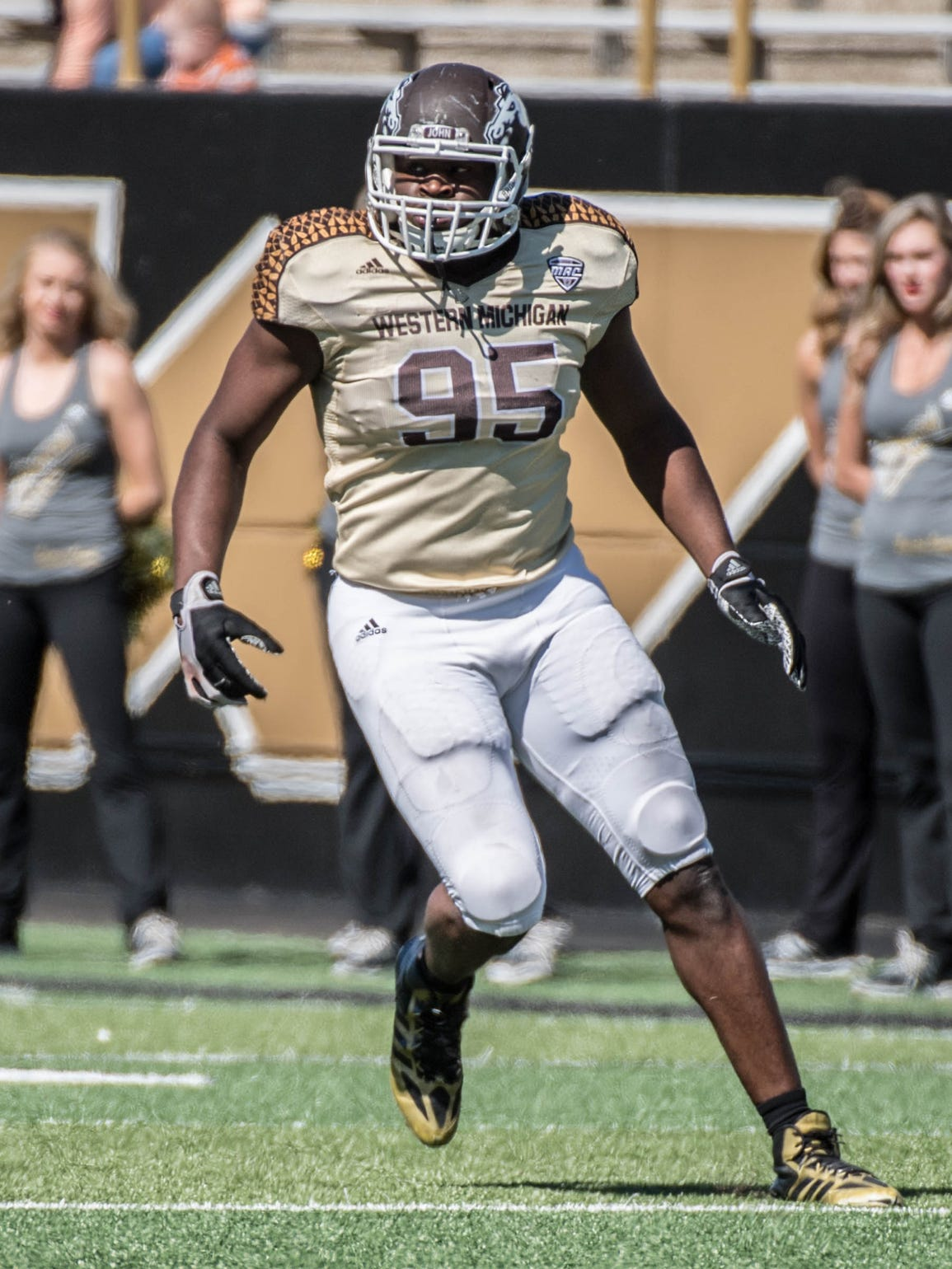 WMU's Odel Miller (95) during spring game, when he