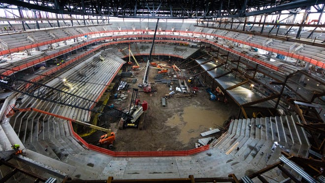New photos show the progress at Little Caesars Arena, which is set to open in September 2017.