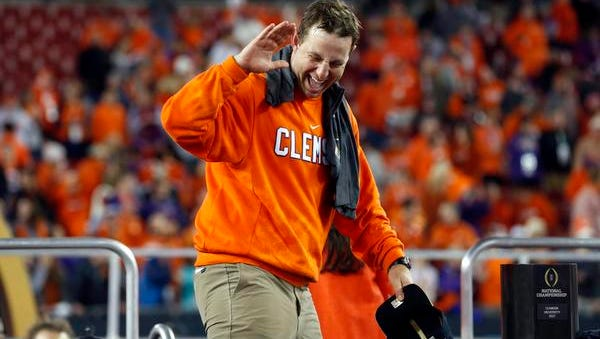 Jan 9, 2017; Tampa, FL, USA;  Clemson Tigers head coach Dabo Swinney reacts after defeating the Alabama Crimson Tide in the 2017 College Football Playoff National Championship Game at Raymond James Stadium. Mandatory Credit: Kim Klement-USA TODAY Sports