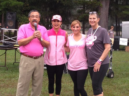 Joanna Francis (far right) with Mayor John Marks, Jane Marks and WTXL meteorologist Michelle Rotella kicking off the Tallahassee Democrat's Go Pink! Power 5K and 1-Mile Fun Run in October 2013.