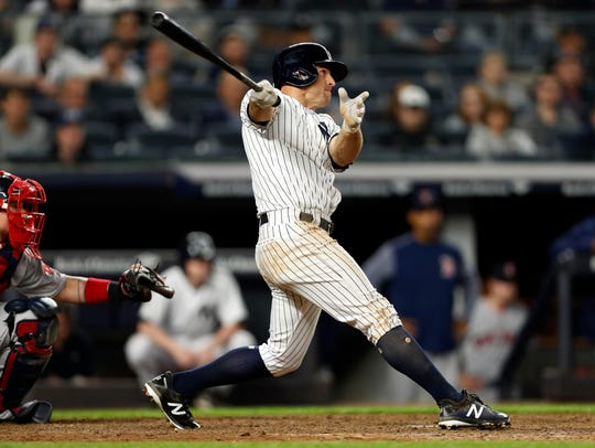 Brett Gardner had three extra-base hits in the Yankees' 9-6 win over the Boston Red Sox on Wednesday, May 10, 2018.