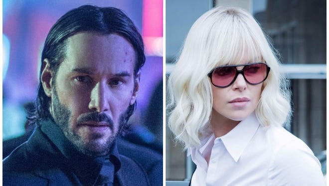Keanu Reeves trained for 'John Wick 2,' left, at the same time the Charlize Theron prepped for 'Atomic Blonde.'