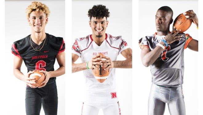 The News-Press All-Area Offensive Football Player of the Year finalists are (from left) Jeshaun Jones, Joe Wilkins and Shocky Jacques-Louis.