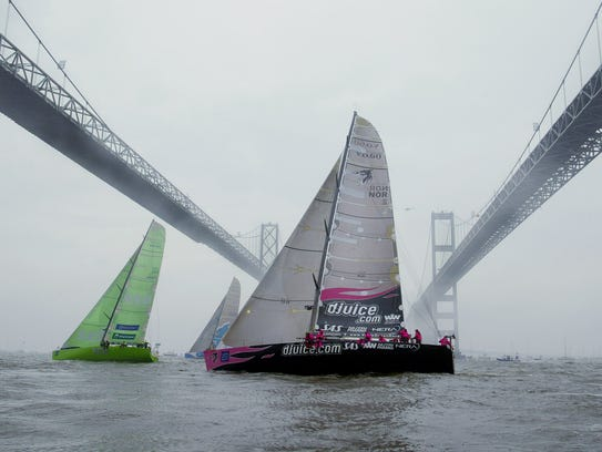 ** FILE ** Yachts competing in the Volvo Ocean Race