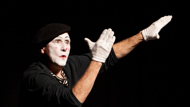 James Jones, who was born deaf, performs his mime routine at Dixie State University during Silent Weekend Friday, Feb. 17, 2017.