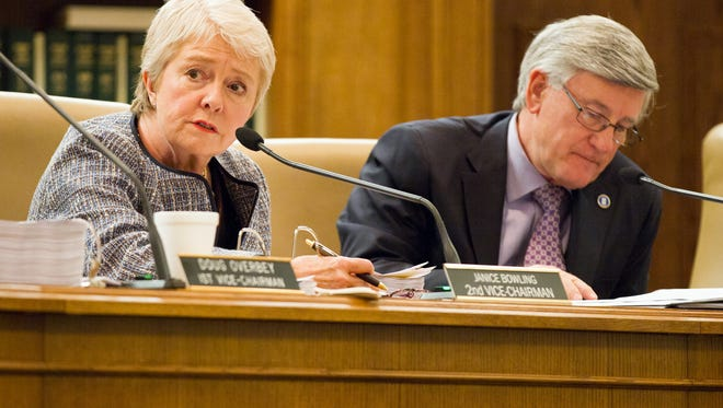 Sen. Janice Bowling, R-Tullahoma, discusses a bill to make the Holy Bible the official book of Tennessee during a Senate Judiciary Committee meeting in Nashville, Tenn., on Tuesday, March 29, 2016. Bowling and Sen. Todd Gardenhire, R-Chattanooga, right, later joined in advancing the measure to a full Senate floor vote. (AP Photo/Erik Schelzig)