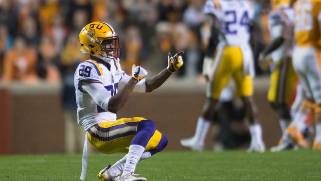 Corner back Andraez Williams (29) celebrates after a play during a game between Tennessee and LSU at Neyland Stadium in Knoxville, Tennessee, on Saturday, Nov. 18, 2017.