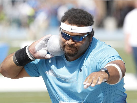 Reese Hoffa competed at the Drake Relays and won an