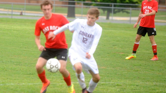 JonPaul Rader (12) scored a pair of goals for Stuarts Draft Tuesday in the Cougars win over East Rockingham.