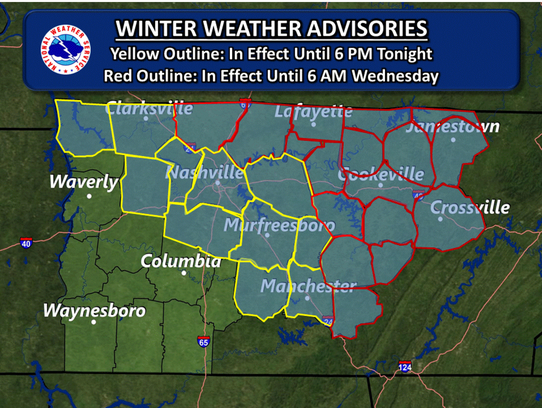 A winter weather advisory was in effect for Montgomery
