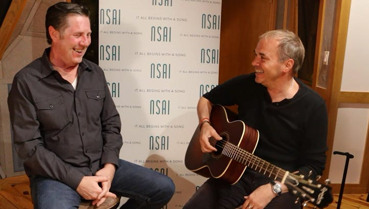 """Marcus Hummon, right, tells Bart Herbison about co-writing the Sara Evans hit """"Born to Fly."""""""