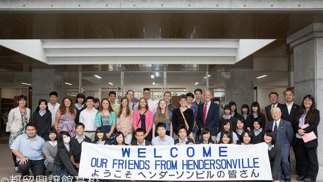 Tsuru students welcome Hendersonville students to Japan.