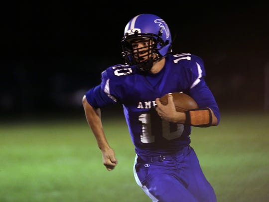 Senior quarterback Brandon Piotrowski passed for four touchdowns and ran for two more to help Amherst advance to the second round of the Division 5 playoffs with a 41-6 win over Oconto on Oct. 21.