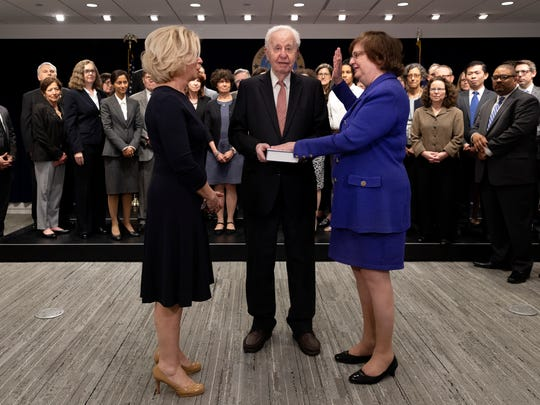 Barbara Underwood, right, is sworn in as acting attorney general by Chief Judge Janet DiFiore, left, on Tuesday, May 8, 2018.