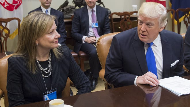 President Trump and General Motors CEO Mary Barra.