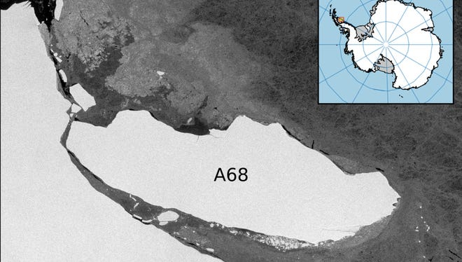 The iceberg (A68) has stayed fairly close to Antarctica. It's been hemmed in by floating sea ice, seen in the gray area around the berg.