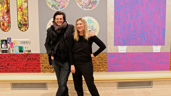 "Artist Ryan McGuiness and senior curator Laura Mott in the ""Studio Views"" exhibition at Cranbrook Art Museum."