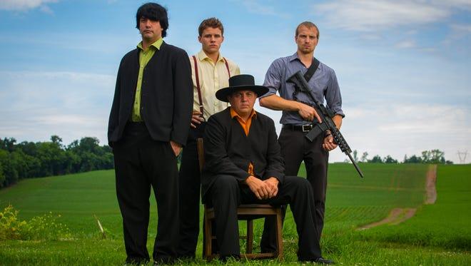 "Alvin, Caleb, Levi and Jolin from ""Amish Mafia."""