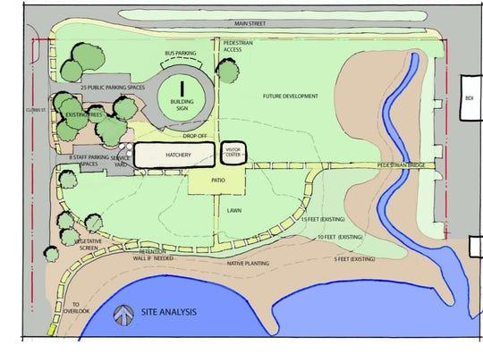 An overhead layout of the Gulf Coast Marine Fisheries Hatchery & Enhancement Center at Bruce Beach.