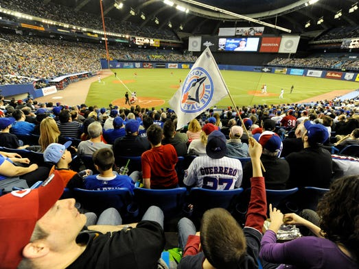 April 4: Fans attend a game at Olympic Stardium in