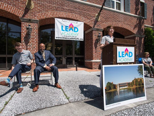 LEAD Academy chairperson Charlotte Meadows announces