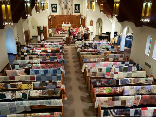 The First Lutheran Church donated 187 quilts, which