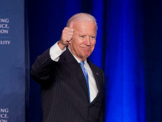 Vice President Biden gives a thumbs-up after speaking