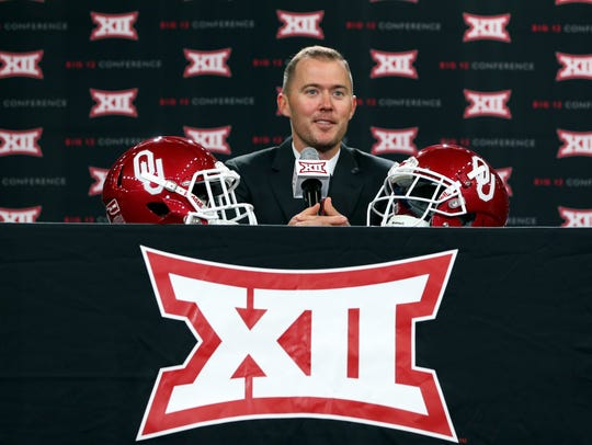 Oklahoma Sooners head coach Lincoln Riley speaks at